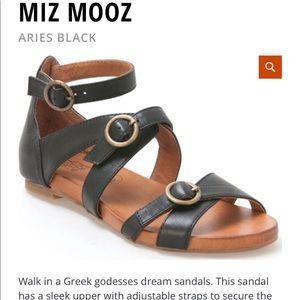 Miz Mooz Aries Sandals Black Greek Style Size 9